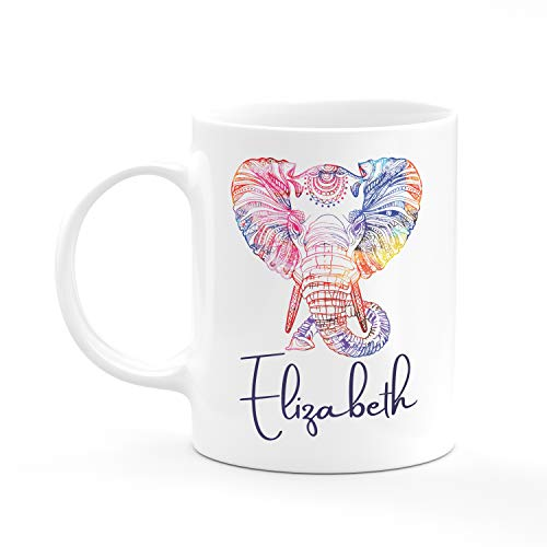 Personalized Coffee Mug - Elephant Mug with Name - Gifts for Women, Gifts for Kids, Birthday Gifts, Christmas Gifts, Tazas Personalizadas, Monogram Novelty Mug, Great Gift Idea (Cool Tea Mugs)