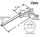 """Casement Window Operator, Right Hand, Rear Mount, Stainless Steel Roller, White, 9-1/2"""" Long Arm"""