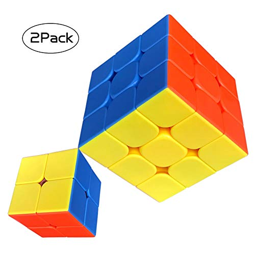 Cfmour Speed Cube Set 2x2 3x3 Rubix Cube Stickerless Magic Speed Cube Bundles Puzzles Toys Durable Smooth Fast Gifts Players [2 Pack]