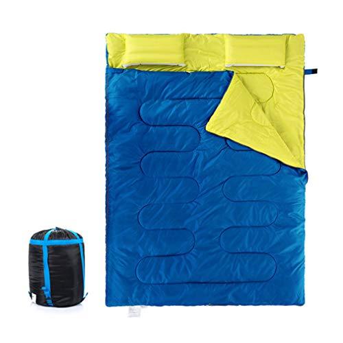 TAFUFALI Couples Double Sleeping Bags Outdoor Camping Hiking Sleeping Bag Portable Sleeping Bag Pillow Blue ()