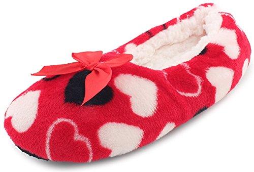 Pantofole Da Donna Enimay Slip-on In Pile Pantofole Antiscivolo Per Interni Casa Rosse   Nero   Bianco - 3