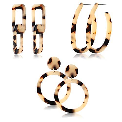 - Jstyle 3Pairs Acrylic Hoop Earrings for Women Girls Mottled Drop Stud Earrings Statement Resin Earrings Set Fashion Women Jewelry
