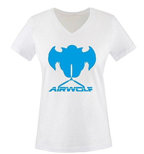 Air Blanc Femme Manches shirt bleu wolf Courtes T Blanc zwrqRxz