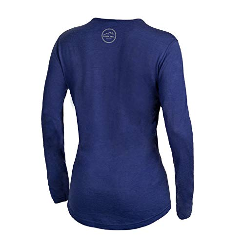 Western Owl Outfitters Merino Wool Women's Long Sleeve Top |Crew Neck Shirt | Lightweight | Moisture Wicking | Base Layer(Large, Navy)