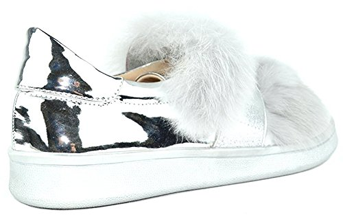 Chase & Chloe Donna In Ecopelliccia Metallizzata Con Slip-on Fashion Sneaker In Argento
