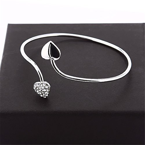 Banggood Lady Crystal Double Heart Open Bangles Bracelet for Holiday Party by Bangood