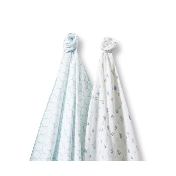 SwaddleDesigns SwaddleDuo, Set of 2 Swaddling Blankets, Cotton Marquisette + Premium Cotton Flannel, SeaCrystal Mod Peace Love Duo