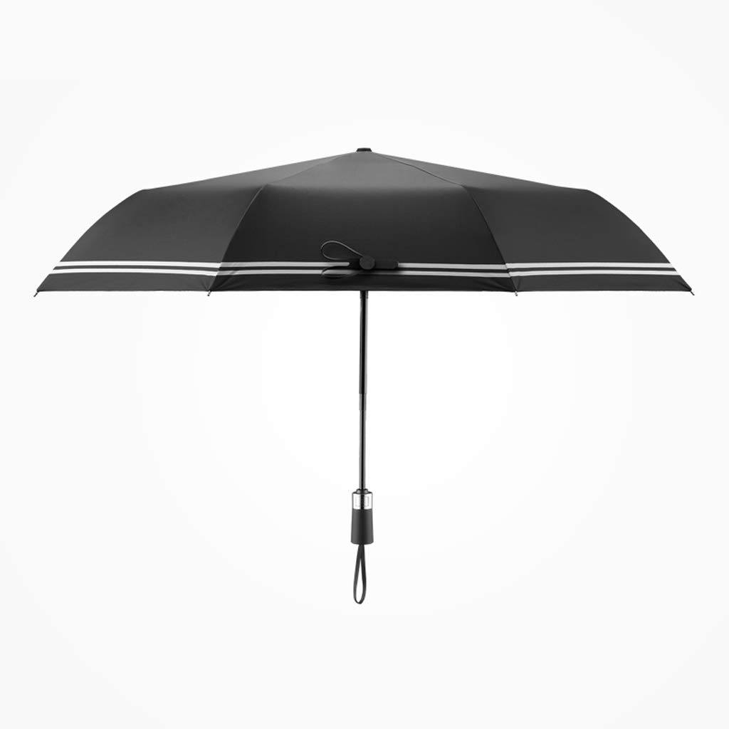 JSFQ Automatic Umbrellas Household Folding Umbrellas Men's Creative Striped Umbrellas Women's Umbrellas Four Colors (Color : Black)