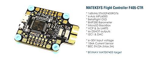 MATEKSYS F405-CTR Flight Controller - STM32F405, BFOSD, Barometer, PDB, BEC 5V/2A, 184A Current Sensor