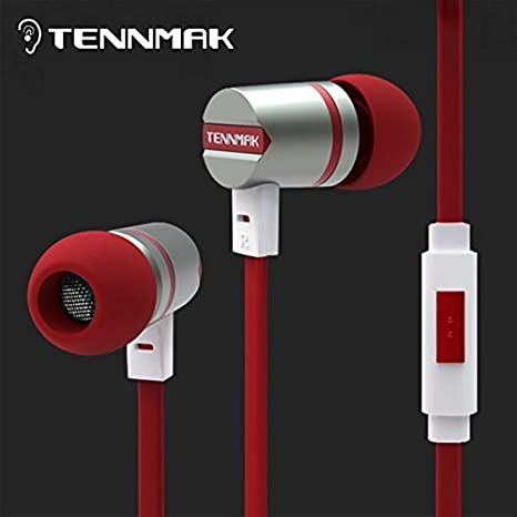 Tennmak Dulcimer Rouge in Ear Métal Écouteurs et écouteurs avec Micro et télécommande pour iPhone & & Samsung et HTC et Android et MP3