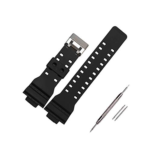300 Black Resin Watch - 16mm Mens G-Shock Resin Replacement Watch Band Black