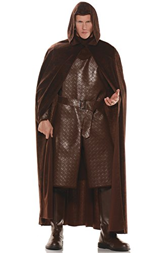 Medieval Costumes Diy (Deluxe Hooded Cape - Brown  One Size)