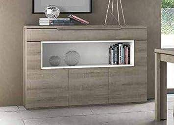 Credenza Per Cucina Bianca : Credenza bassa in stile moderno legno di quercia colore: grigio