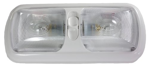 Arcon 18124 Euro Style Double Light with Optic Lens and White Base
