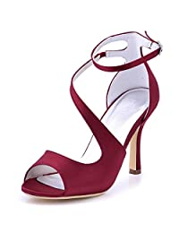 Elegantpark HP1505 Women's Open Toe Rhinestones Ankle Buckle High Heel Sandal Satin Eveing Party Shoes