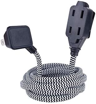 3 Polarized Outlets, Globe Electric Designer Series 9-ft Fabric Extension Cord