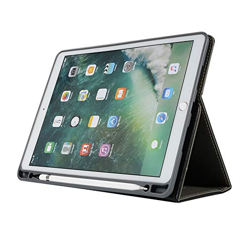 Price comparison product image Jennyfly 10.5 Inch iPad Pro Case, Folio Flip Stand Luxury PU Leather Hand Strap Business Case Auto Sleep / Wake with Apple Pencil Holder Card Slots Smart Cover for iPad Pro 10.5 -Black