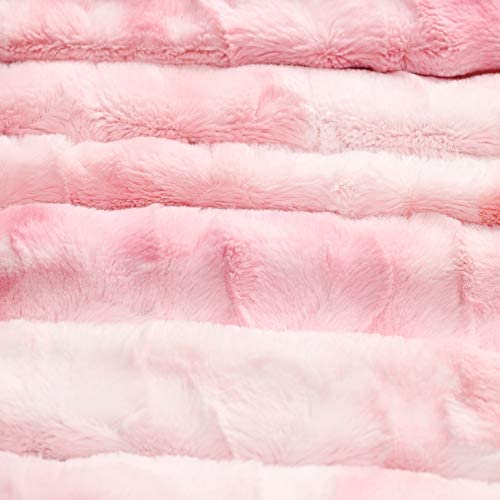 Kingole Faux Fur Oversized Throw Blanket, Thick and Warm Luxurious Plush Travel Sherpa Blanket for Couch Sofa Bed, 50 x 60 Inch, Cherry Blossom Pink