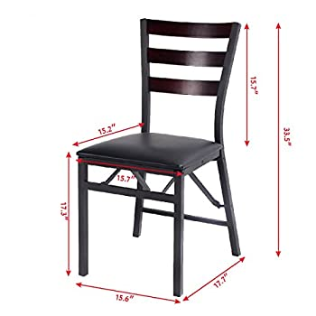 "Giantex Set of 2 Wood Folding Chair Dining Chairs Home Restaurant Furniture Portable (15.6"" X 17.7"" X 33.5"")"