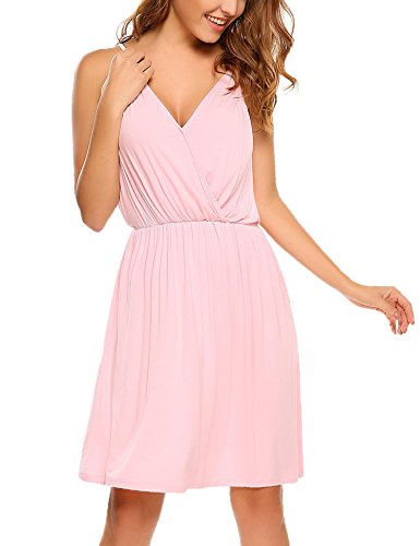 Unibelle Women's V Neck Sleeveless Summer Casual Elegant Midi Dress(Pink,M)