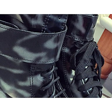 ZJJ Donne stivali invernali piattaforma PU Abito Casual tacco fibbia / cerniera / Black Lace-up Walking , us6 / eu36 / uk4 / cn36