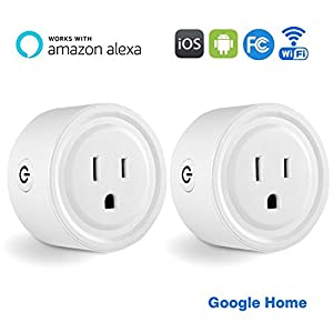Wifi Smart Plug,Mini Socket Outlet Smart Switch Compatible with Amazon Alexa & Google Home by Homitem,Timing Function,Wireless Control Your Devices from Anytime Anywhere,White(2-Pack)
