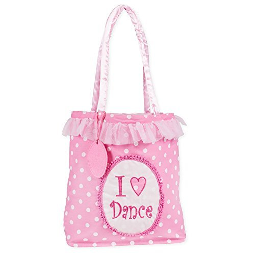 I Love Dance Pink Tutu White Polka Dot 12 x 11 Inch Fabric Tote Bag with Satin Handles by Delton
