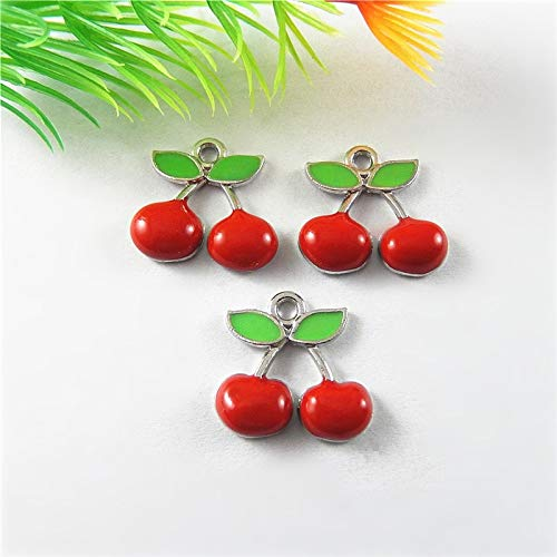 Suspension Cherry - Collar Making Jewelry 10PCS Antique Gold Charm Creative Cherry Suspension Pendants for Jewelry Making Necklace Earring Accessory 18174MM