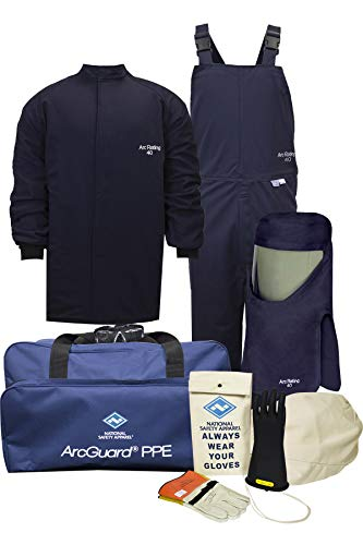 National Safety Apparel KIT4SC403X10 ArcGuard UltraSoft Arc Flash Kit with Short Coat and Bib Overall, 40 Calorie, 3X-Large/Glove Size 10, Navy