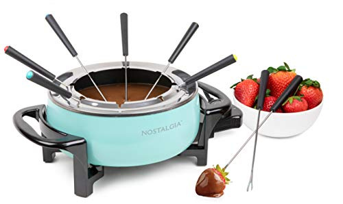 Nostalgia FPS6AQ 6-Cup Electric Fondue Pot with Adjustable Temperature Control 8 Color-Coded Forks, Cool-Touch Handles…