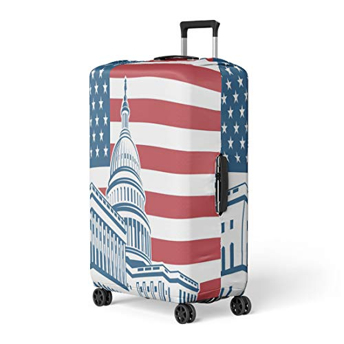 Pinbeam Luggage Cover Dome United States Capitol Building in Washington Dc Travel Suitcase Cover Protector Baggage Case Fits 26-28 inches