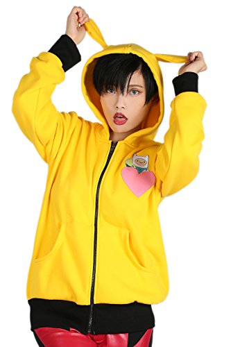 Bmo Costume For Kids (XCOSER Cute BMO Hoodie with Ears Zip Up Sweatshirt for Anime Cosplay L)