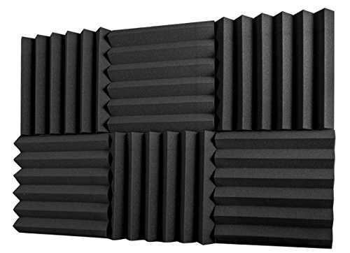 "A2S Protection 6 Pack Acoustic Foam Panels 2"" X 12"" X 12"" Soundproofing Studio Foam Wedge Tiles Fireproof - Top Quality - Ideal for Home & Studio Sound Insulation - Density 25Kg/CMB (Black 2"" 6pcs)"