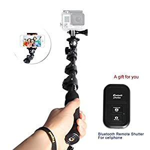 Fogood Professional Handheld Monopod Telescopic Camera Extender with Bluetooth Remote Control Shutter Release and Tripod Mount for Gopro 1 2 3 3+ 4Digital Camera and Cell Phone