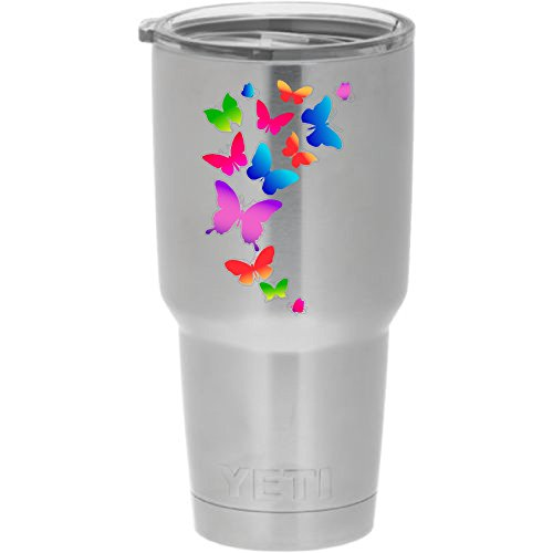 Cups drinkware tumbler sticker - Colorful butterflies - cool sticker decal ()