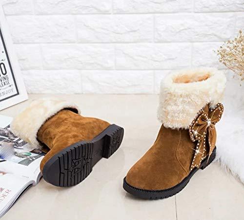Chaussures Kaki De Bottes Neige Femmes Slip Chaud Bow Noeud Round Holywin Wedges Perles Au Garder on Toe axHE8