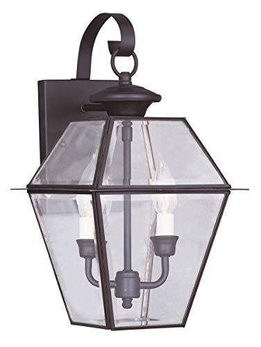 Livex Lighting 2281-07 Westover 2-Light Outdoor Wall Lantern, - Lantern Inch 10 Wall Outdoor