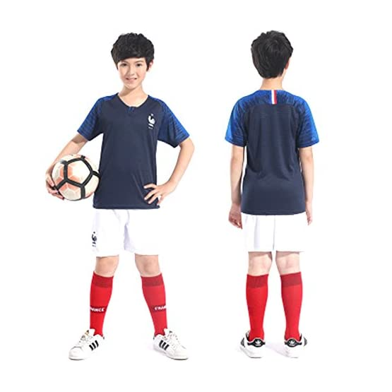 HomJo France Enfants Soccer Jersey 2018 Coupe du Monde Champion Fans de Football Jersey