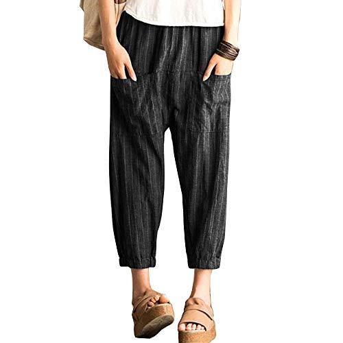 Aurgelmir Women's Elastic Waist Harem Pants Stripe Baggy Casual Cropped Trousers with Pockets -