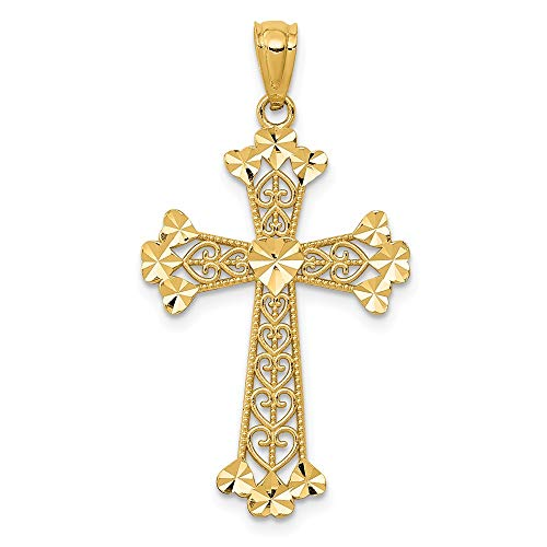 14k Yellow Gold Filigree Hearts Cross Religious Pendant Charm Necklace Fine Jewelry Gifts For Women For Her