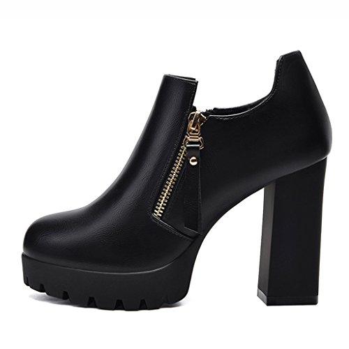 Cuir femme Femmes Couleur Chaussures Shallow Gris Chaussures Talons Noir Femmes Hauts Taille Mouth en Chaussures pour Simples 36 HWF x1vAxB