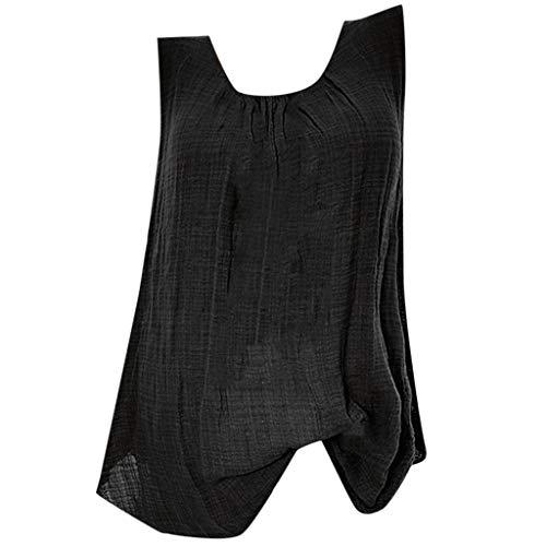 NRUTUP Tank for Women Cotton Linen Sleeveless Baggy T-Shirt Loose Vest Tee Blouse Tops Plus Size Hot(Black,M)