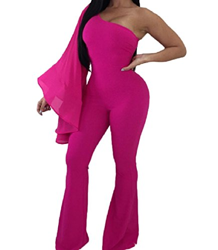 Winwinus Womens Splicing Gauze Pure Colour One Shoulder Siamese Trousers Rose Red M