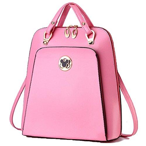 Mochila De Cuero De Las Mujeres De La Manera Bolso Simple Del Día Del Ocio Bolso De Hombro De Los Estudiantes Universitarios Pink