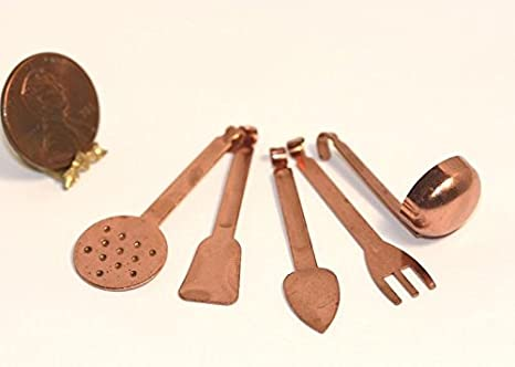 5PCS//SET 1//12 Dollhouse Cooking Hanging Utensils Tool For Dollhouse Toys