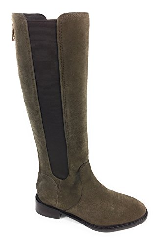 Tory Burch Christy 30mm Riding Boot LAN Grey/Coconut Suede 6.5