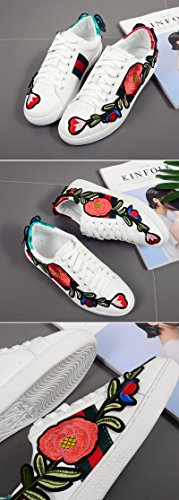 amp; White Roses White Embroidered QZUnique Shoes Elegant Students Non Wearable Flat Slip With Womens tfSwP