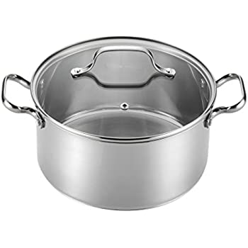 T-fal E75846 Performa Stainless Steel Dishwasher Safe Induction Compatible Dutch Oven Cookware, 5.5-Quart, Silver