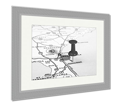 Ashley Framed Prints Daytona Beach Florida USA Map, Contemporary Decoration, Black/White, 26x30 (frame size), Silver Frame, - To In Places Daytona Beach Shop