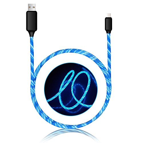Type C Cable charger cable light up Visible Flowing EL Light LED Light USB C to USB 2.0 cable (3ft) Durable Charging Cord for Samsung Galaxy S8+ LG V30 G6 G5 Google Pixel Nexus 6P HTC and More(blue